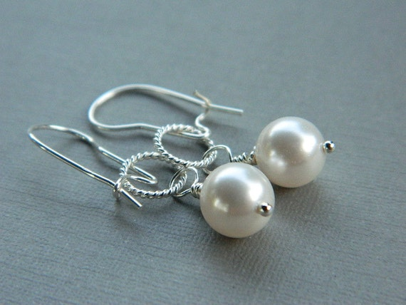 Wedding Earrings - Wire Wrapped with Sterling Silver - Pearls, White, Cream, Ivory, Old White, Silver, Bride, Cute, Nice, Pretty