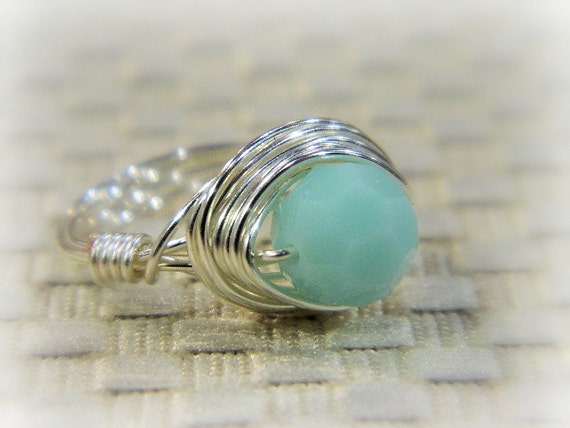 Mint Ring . To Order - Mint Alabaster Swarovski Crystal - Mint, SIlver, Fresh, Green, Melon, Calm, Romantic, Xmas, For Her