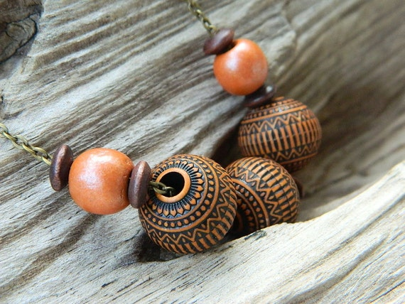 Wood Necklace - Brown, Orange, Tangerine, Rustic, Tribal, Indian, OOAK, Big, Round, Autumn, Fall, Geometric, Warm