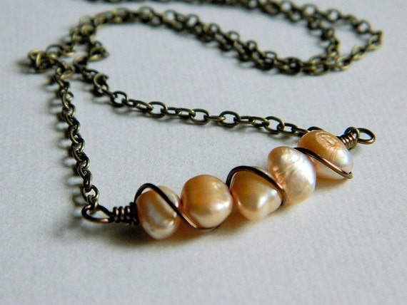Freshwater Pearls Necklace - Light Honey, Peach, Mauve, Brown, Rustic, OOAK, Autumn, Fall, Warm, Antiqued Brass, Lovely, Gift