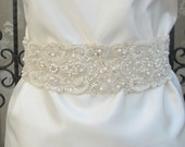 """Reserved listing Beaded Bridal Wedding Sash Belt 7 cm 28"""" with pearls crystal beads ivory Ready to Ship"""