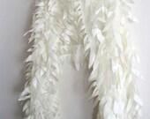 Ivory Silk Organza Feathery Bridal Shawl Wrap