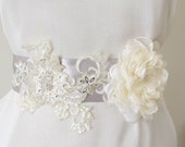 Bridal Belts Beaded  Rhinestones  crystal beads Wedding Sashes Organza flower Cream