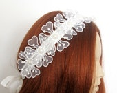 Flower Pearl Beaded Lace Bridal Hair Comb  Head band  Wedding Accessories Headpiece Head Piece Ready to Ship