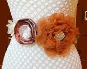 Handmade Floral Bridal Burnt Orange Rust Champagne Flower Sash Wedding Belt