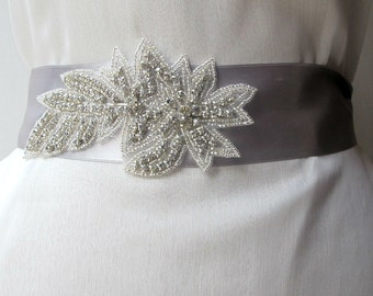 Bridal Belts Beaded  Rhinestones  crystal beads Wedding Sashes Satin Ribbon