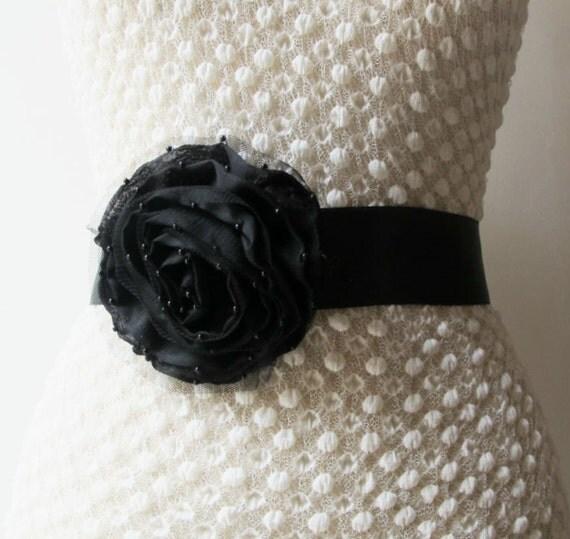 black beaded flower satin belt bridal wedding sash by gebridal