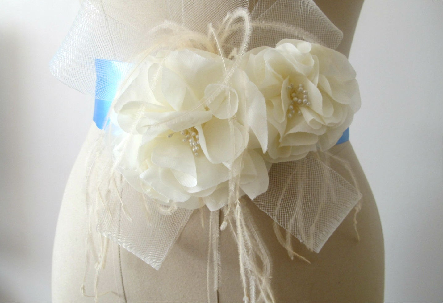 Ivory Flower Belt Bridal Wedding Sash with Feathers by