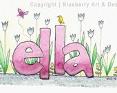 Girl's Personalized Watercolor