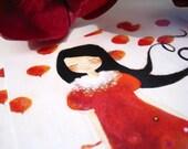Girl at Poppies - Postcard