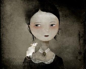 Portrait au Rat Blanc - reproduction en édition libre sur papier mat