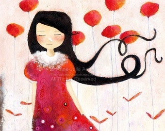 Girl at Poppies - open edition print