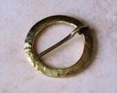 Flat Hammered Brass Brooch
