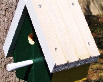 Upcycled Reclaimed Bird House Nest Box for Bluebird Chickadee Nuthatch Titmouse or Carolina Wrens love bird nest gift for your Birder friend