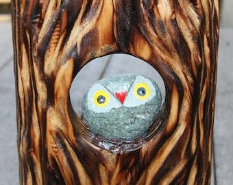 Upcycled Stone owl resting byt the tree hole - Bird House love birds egg nest gift for mom gift for her nursery wall decor Birder friends