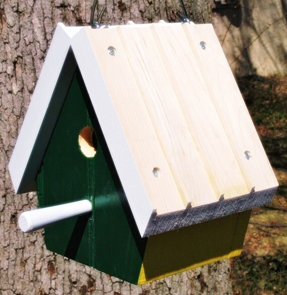 Upcycled Reclaimed Bird House Nest Box for Bluebird Chickadee Nuthatch Titmouse or Carolina Wrens love bird nest gift for your Birder friend