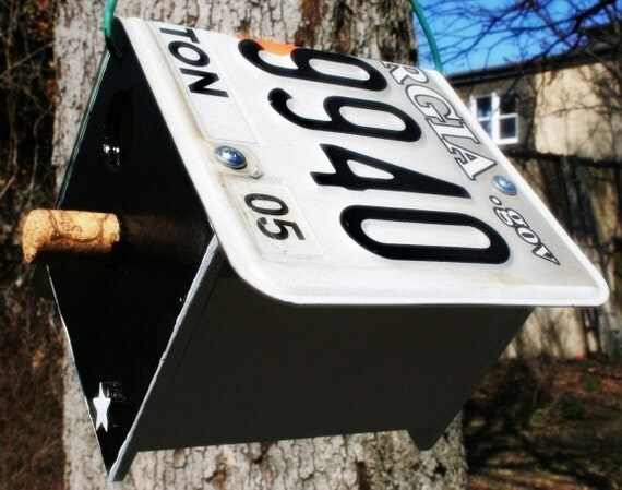 Upcycled GA License Plate Bird House Nest Box For Black-capped Chickadees or Carolina Wrens gardening nest gift for your birder friend