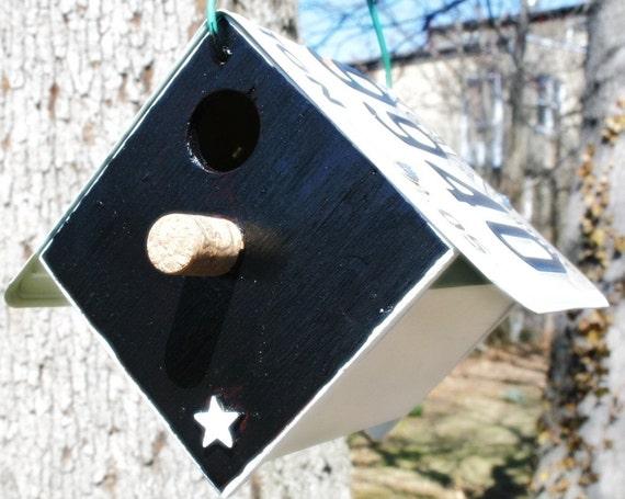 Upcycled GA License Plate Bird House Nest Box For Black-capped Chickadees or Carolina Wrens gardening nest gift for your birder friend
