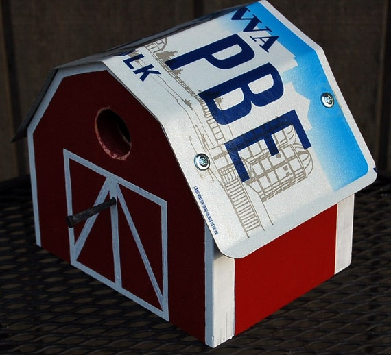 Recycled Iowa Farm License Plate With Barn Shape Bird House