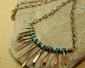 Turquoise Necklace - Beaded Necklace - Bead Choker - Tribal Jewelry - Native Necklace - Copper Fringe Metalwork