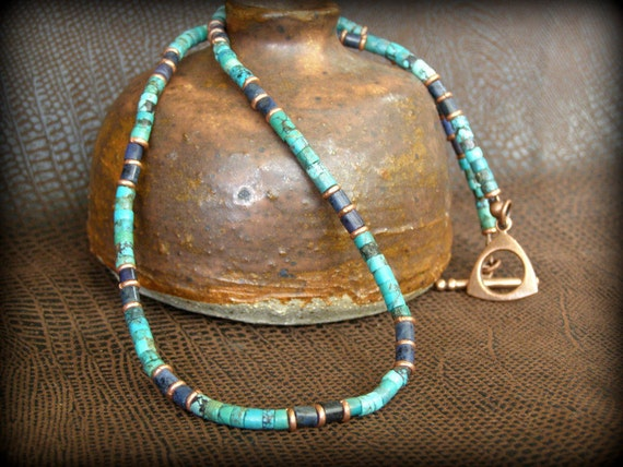 mens necklace turquoise necklace heishi necklace choker