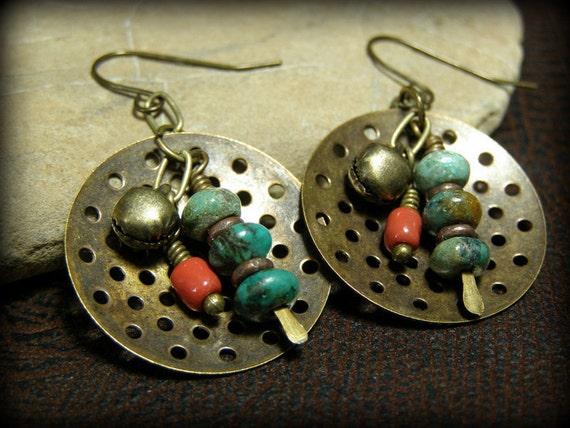 Tribal Earrings - Turquoise Earrings - Southwest Earrings - Native Earrings - Vintaj Earrings - Boho Earrings