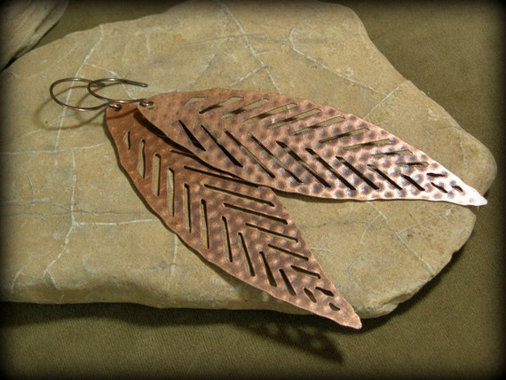 Leaf Earrings - Feather Earrings -  Large Copper Earrings - Primitive Native Earrings - Geometrical
