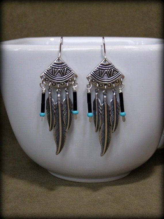 Tribal Earrings, Feather Earrings, Silver Earrings, Native American Earrings, Tribal Jewelry, Bohemian Jewelry,  Southwest Jewelry