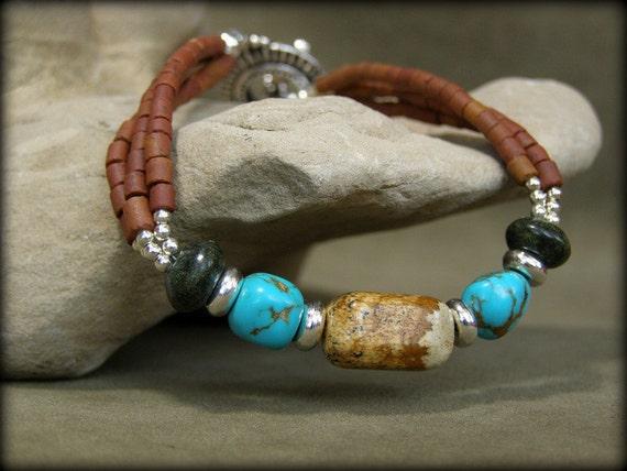 Turquoise Bracelet - Beaded Bracelet - Southwest Bracelet - Native Bracelet - Heishi Bracelet - Southwestern