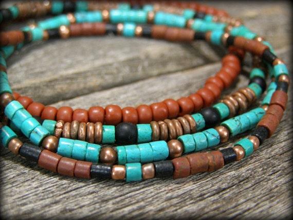 Turquoise Bracelet - Beaded Bracelet - Tribal Bracelet - Stretch Bracelet - Heishi Bracelets - Unisex Bracelet