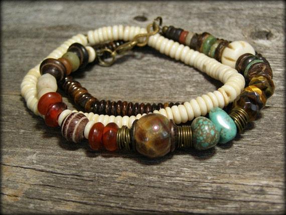 Turquoise Bracelet - Beaded Bracelet - Tribal Bracelet - Stretch Bracelet - Boho Bracelet - Native Bracelet