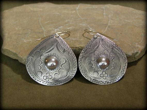 Silver Earrings - Southwest Earrings - Dangle Earrings - Ethnic Earrings - Teardrop Earrings - Etched Jewelry