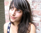 White Stripes Collection - 4 Grizzly Feather Hair Extensions for BANGS with a 4 FREE Micro Beads, short length