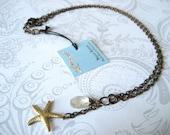 Starfish Rutilated Quartz Necklace - nautical, vintage inspired necklace with rutilated quartz crystal and brass starfish