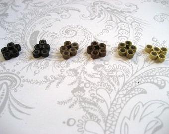 10 Micro Beads for Feather Hair Extensions - Black, Dark Brown, Medium Brown, Light Brown, Auburn, or Blond