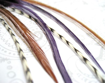 Purple Rain Collection - 6 Bright and Grizzly Feather Hair Extensions for BANGS with 3 FREE Micro Beads, short length
