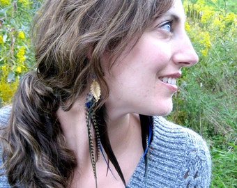 Leaf and Feather Earrings - extra long blue and green hair extension earrings with apatite, labradorite and brass leaves