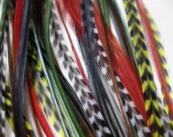Reggae Sunsplash Collection - 6 Feather Hair Extensions with 3 FREE Micro Beads, Medium Short Length (6-9 inches)