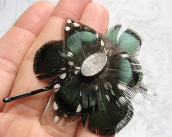 Lola Feather Hair Pin - pretty all natural dark green feather flower fascinator with blue shell