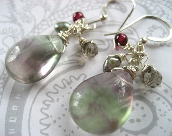 Florence Earrings - water blue and lilac purple fluorite, garnet, smokey quartz and freshwater pearls on sterling silver