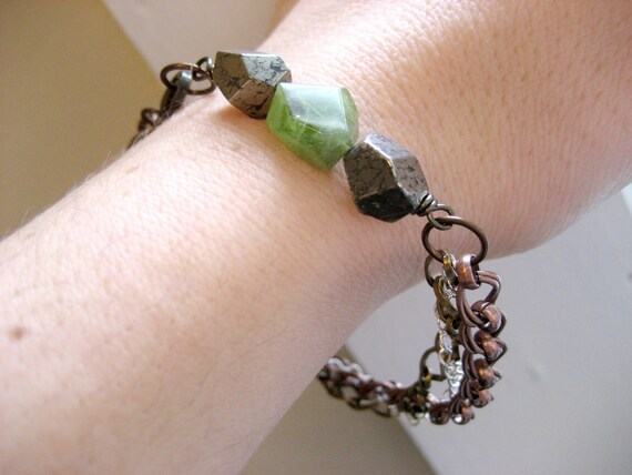 Raw Pyrite and Peridot Bracelet - mixed metal chain and gemstones friendship
