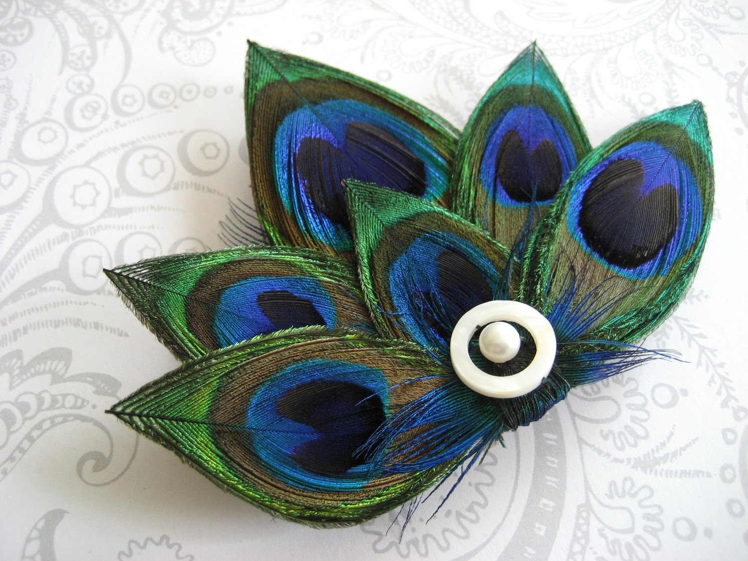 Allison Feather Hair Clip Peacock Eye Lotus Flower With