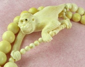 Old VINTAGE Genuine IVORY Pre Ban Carved Climbing Monkey Beads NECKLACE Fine Old Jewelry