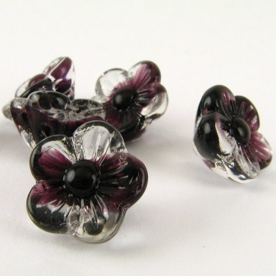 Pressed GLASS Purple GIVRE Flower Loose BEADS Czech German Jewelry Making Supplies Vintage