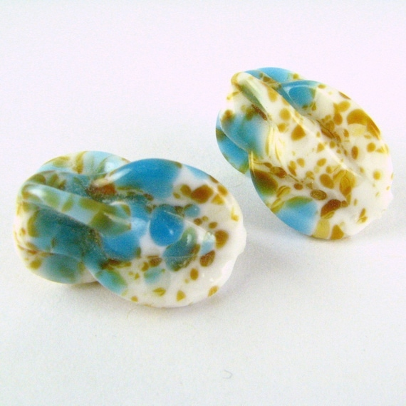 LAST Special VINTAGE Art Glass Large Loose Focal BEADS German Pinched Speckled Faux Stone