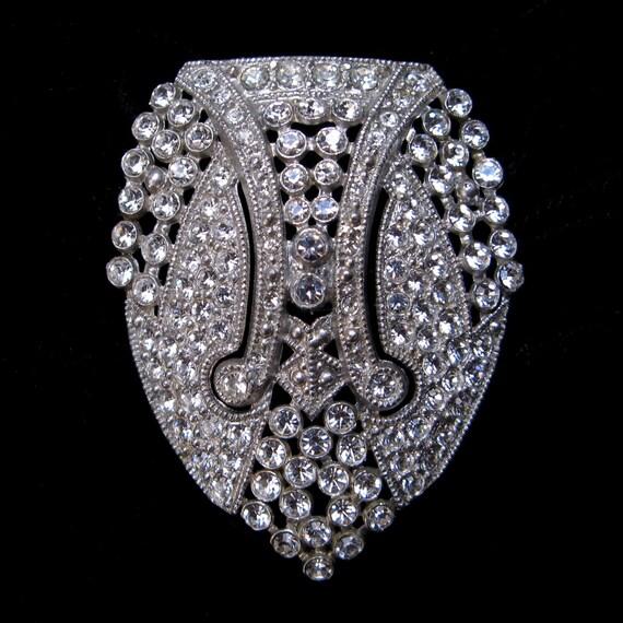 Vintage Rhinestone Paste DRESS CLIP Art DECO 1920s 1930s Wear Rhodium Brooch Jewelry Restored Holiday Gift