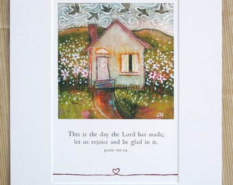 Psalm 118 Matted Art Print featuring Happy House Art, 11 x 14