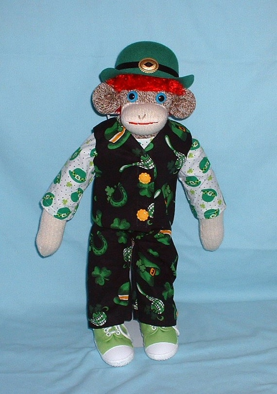 Irish Leprechaun Sock Monkey  Notre Dame  Fighting Irish
