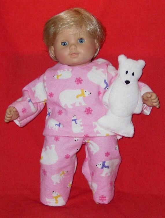 Pink Polar Bear Pajamas With Fleece Polar Bear Bitty Baby
