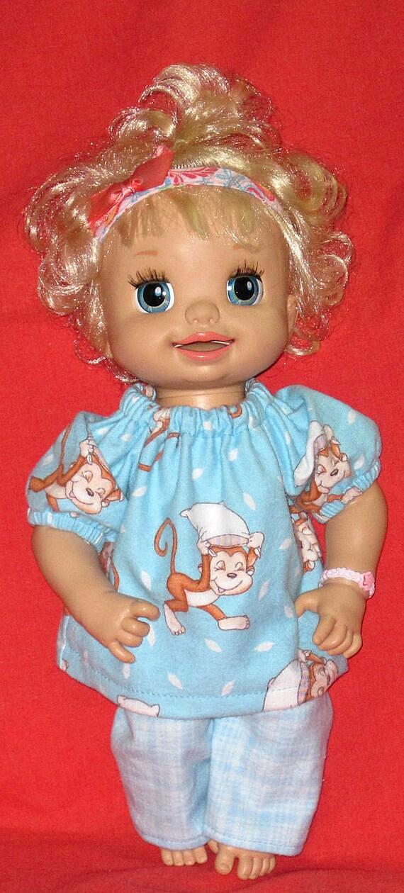 My Baby Alive Set Aqua Monkey Pajamas Fits 16 Inch Doll
